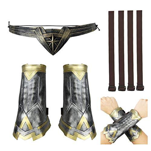 Eilsorrn Wonder Woman - Kit de déguisement avec brassard, gantelet et bandeau - Accessoires pour femme et fille - Pour Halloween, déguisement, cosplay