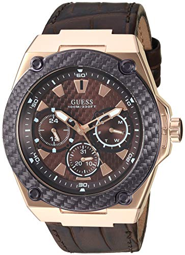 GUESS Brown Genuine Leather Watch with Brown Dial, Day, Date + 24 Hour Military/Int'l Time. Color: Brown (Model: U1058G2)