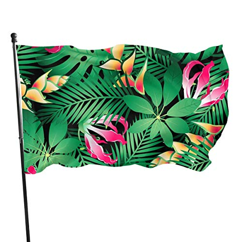 LUJ08i@flag Beautiful Garden Flags for Outdoors, Tropical Hawaiian Plumeria and Hibiscus Flowers Yard Flags   Durable, Polyester, 3X5 ft