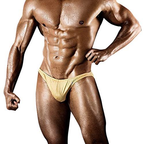 Celucke Badeslip Herren Enge Badehose Kurze Schwimmhose Kordelzug Stretch Badestring Männer Slips Badeshorts Bademode Schwimmshorts Schnelltrocknend String Tanga Sommer Shorts (Gold, XL)