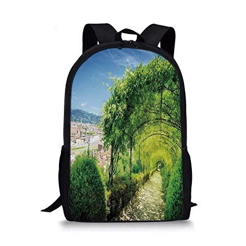 AOOEDM Mochila Escolar con Estilo de decoración Italiana, Jardines de Boboli en Florencia Italia Famosa atracción turística Natural para niños, 11