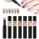 BISHENGYF penna in polvere per unghie cromata, 6 colori metallizzati e cromati, con glitter magici per unghie, con polvere e effetto specchio, per nail art fai da te