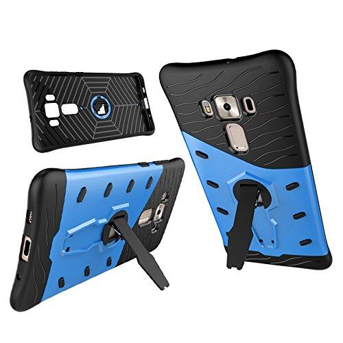 Tasche für Asus ZenFone 3 Deluxe ZS570KL (5.7 Zoll) Hülle, Ycloud flexible TPU innere Schicht + PC harte Schale doppelte schützende Schale 360-Grad-rotierenden Handykasten schützenden Handykasten blau
