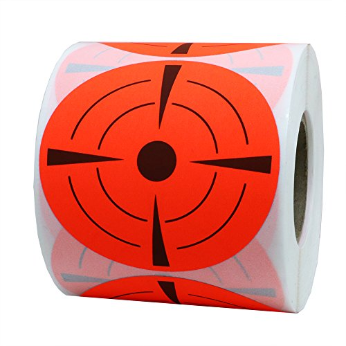 Hybsk Target Pasters 3 Inch Round Adhesive Shooting Targets - Target Dots - Fluorescent Red and Black (Fluorescent Red)