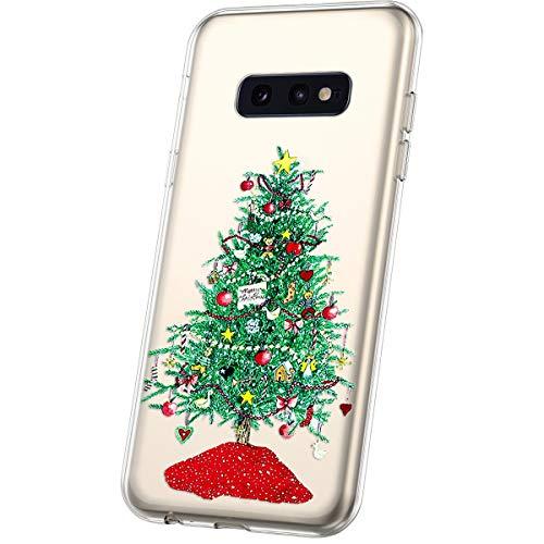 JAWSEU Compatible avec Samsung Galaxy S10e Coque Transparent Silicone,Ultra Mince Souple Cristal Clair Housse Coque Belle Neige de Noël Christmas Snowflake Motif Coque de Protection,#6