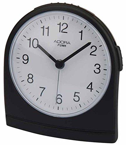 Adora Funkwecker Quarzwecker analog Alarm Snooze-Funktion Beleuchtung 29503, Farbe:schwarz