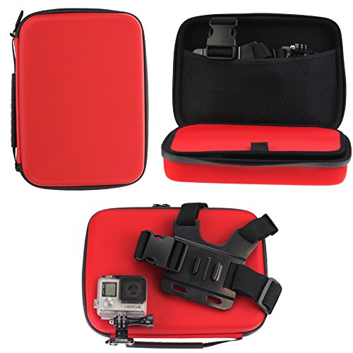 Navitech Red Shock Proof Hard Storage Case/Cover Compatible with TheThe Bekhic V90 4K HD WiFi Sports Action Camera