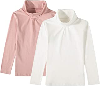 UNACOO Girls 2-Pack Solid Color Turtleneck Long-Sleeves Cotton Shirt