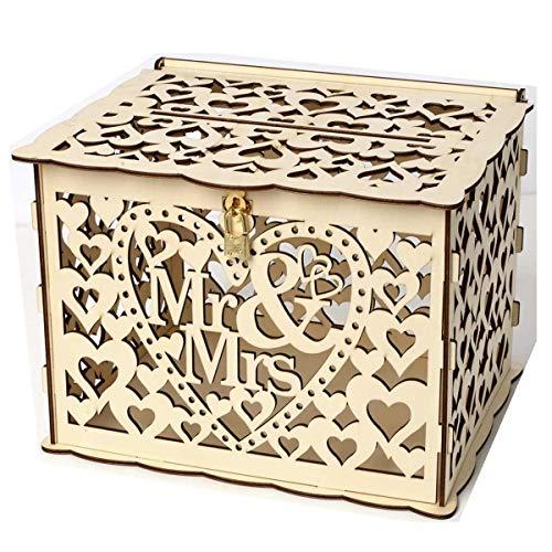 Lalia Geschenkebox Hochzeit Holz, 30x24x23cm, Für Karten, Glückwünsche Geschenke, braun, gold. Sehr romantisch. mit Schloss Hochzeitsgeschenke für Brautpaar