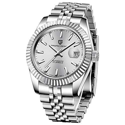 PAGANI DESIGN Reloj Automático para Hombre Reloj Mecánico De Primeras Marcas Reloj Deportivo De Acero Inoxidable Resistente Al Agua para Hombre (White)