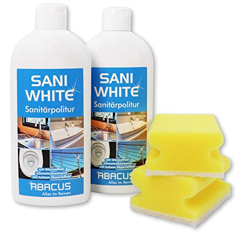 ABACUS 2x 500 ml Sani White Sanitärpolitur/Keramikpolitur/Edelstahlpolitur mit Schwämmen (7013)