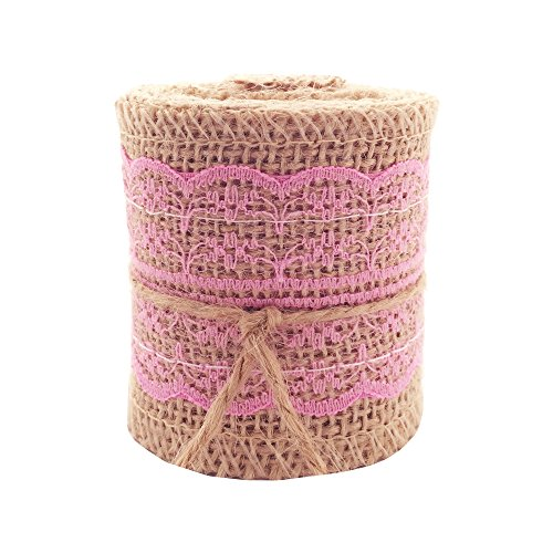 LWR CRAFTS Natural Burlap Ribbon with Lace (Pink)