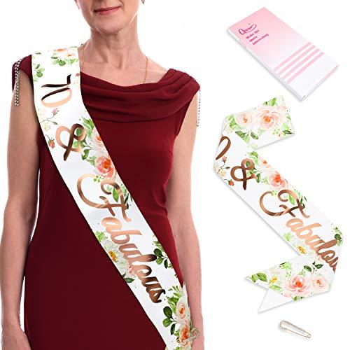 Qpout Rose Gold 70 Fabulous Happy Birthday Geburtstag Schärpe Mit Diamant Sicherheitsnadeln Für Geburtstag Frauen Frau Mädchen Deko Frauen Deko Accessoires Geschenk