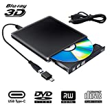 External Blu Ray DVD Drive 3D,USB 3.0 Bluray Disc Burner Reader Burner Slim