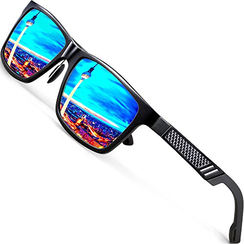 ATTCL Men's Hot Retro Driving Polarized Sunglasses Al-Mg Metal Frame Ultra Light (Black/Blue, 6560)