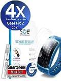[4 Stück] Schutzfolien kompatibel mit Samsung Gear Fit 2 - [Made in Germany - TÜV NORD] - Premium Schutz - volle Abdeckung - blasenfreie Aufbringung - Klar - Wasser- und schmutzabweisend - Transparent
