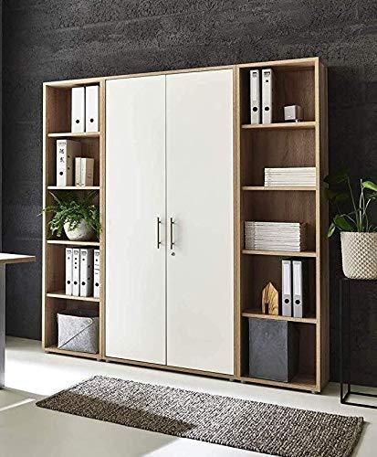 abschliessbare Regalwand Aktenschrank Büroschrank Schrankwand Büromöbel Regal Office Edition in Eiche Sonoma/weiß (Set 3 hoch)