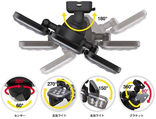『ムサシ RITEX フリーアーム式LEDセンサーライト(8W×2灯) 「コンセント式」 防雨型 LED-AC2016』の3枚目の画像