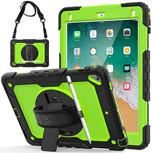 iPad Pro 9.7 inch Case, iPad 6th/5th Gen Case, iPad Air 2 Case Shockproof Heavy Duty Rugged Case 360 Rotating Handle Strap Sturdy Stand Cover for iPad 9.7 2017/2018, Air 2, Pro 9.7 (Black/Green)