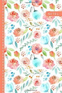 Notes: Password Book Cleverly Disguised With Beautiful Design / Watercolor Peach Blue Flower Cover / Discreet Internet Use...