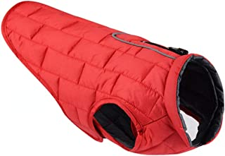 Windproof Water-Resistant Dog Jacket with Reflective Trim, Warm Reversible Adjustable Vest Apparel for Small Medium Large Dogs