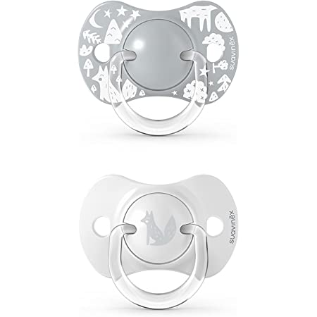 SUAVINEX Nuevo Pack 2x Chupetes Fisiológicos Sx Pro, Para Bebés 0-6 Meses, Chupetes con Tetina Fisiológica de Silicona Sx Pro, color Gris, 0-6 Meses, 43 g - Pack de 2