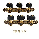 lovermusic Lovermusic Black Gold 1 Left 1 Right Classical Guitar-String Tuning Pegs Tuners Machine Heads Ratio 1:18