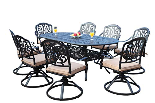 GrandPatioFurniture.com CBM Patio Elisabeth Collection Cast Aluminum 9 Piece Dining Set with 8 Swivel Rockers SH216-8S cbm1290