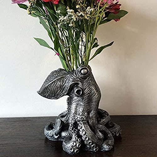 GSJDD Octopus Blumentopf Dekor, einzigartige Krake Form Blume Topf Desktop Art Ornament, Harz Blumentopf Sculpture Modell, Für Tisch Schreibtisch Blume Vase Dekoration Geburtstagsgeschenk-A