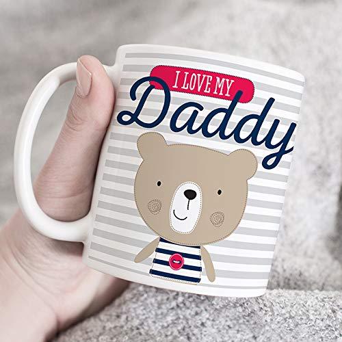 "Taza personalizada para papá, diseño de oso de peluche con texto en inglés ""Daddy"" para papá, taza personalizada para papá, taza personalizada para papá"