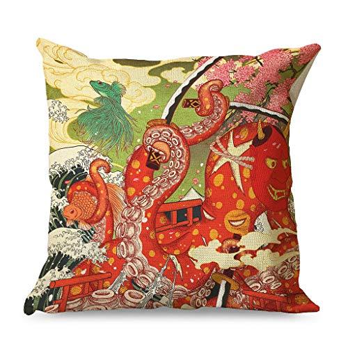 HoodBA - Federa per cuscino con motivo a spade, colore rosso giapponese, 45 x 45 cm, motivo onde, colore: bianco