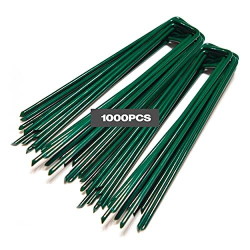Winfaith Piquetas Verdes Piezas 1000 Made in Italy en Acero EN 10204 3.1 Galvanizado en Caliente - Antióxido Jardín Césped Sintético Anclaje - Medidas mm H150 x L30 x D3