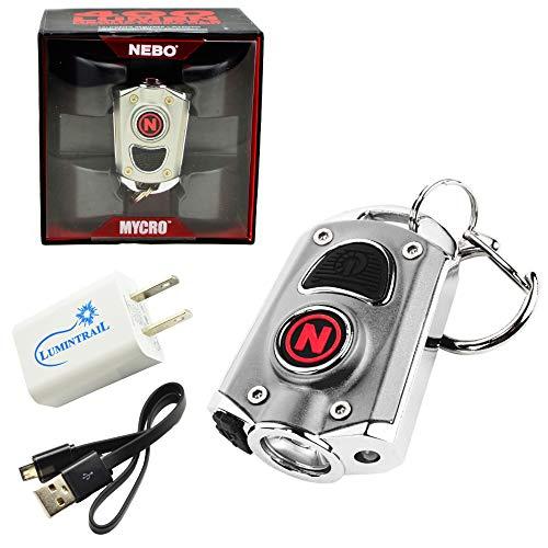 NEBO Mycro 400 Lumen USB Rechargeable Keychain Pocket Flashlight Bundle with Lumintrail USB Wall Adapter (Silver)