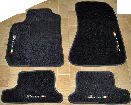 SonCar Tappeti per Auto Neri, Set Completo di Tappetini in Moquette su Misura con Ricamo a Filo Bandiera Italiana