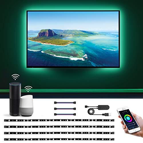 LE Ruban LED TV USB Connecté WIFI 2M V5050 Retro-Eclairage, Bande LED TV RGB 16 Millions Couleurs Fonction Minuterie Contrôlée par Smartphone, Alexa,Google Home