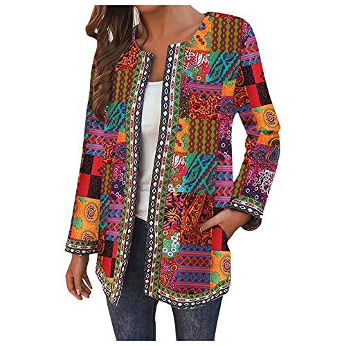 TT- Damen Cardigan Volksbräuche Casual Gestreift Bunt Outwear Lose Langarm Coat Herbst Winter Cardigan Casual Mantel Pullover Coat Tops Outwear Bluse Tops Coat Cardigan (Gelb, XL)