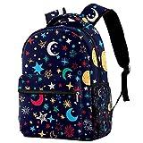 Mochila informal para niñas y niños, con estrellas blancas en azul con muchos bolsillos, Galaxia colorida luna estrellas,