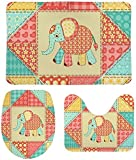 FETEAM Juego de Alfombrillas de Baño de 3 Piezas Lindo Elefante Colorido Patchwork Infantil Antideslizantes Absorbente Alfombra de Contorno y Cubierta de Tapa