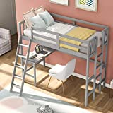 Merax Wood Loft Bed with Desk for Kids Twin Size Loft Bed with Desk and Two Ladders Loft Bed Frame for Living Room Bedroom, Gray