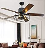 Panda Lighting Retro Industrial Ceiling Fan Light Draw Rope & Remote Control Pendant Fan Chandelier 5 Lights 5 Wooden Blade Super Silent Indoor Fan Lamp Iron Cage Rustic Style(52 inch)…