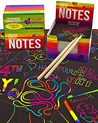 Purple Ladybug Rainbow Scratch Off Art Mini Notes Set: 150 Scratch Papers + 2 Wooden Stylus - for Fun Arts & Crafts Activities, Unique Gift Idea for Kids & Teens - Great for Travel, Office, & School from Purple Ladybug Novelty