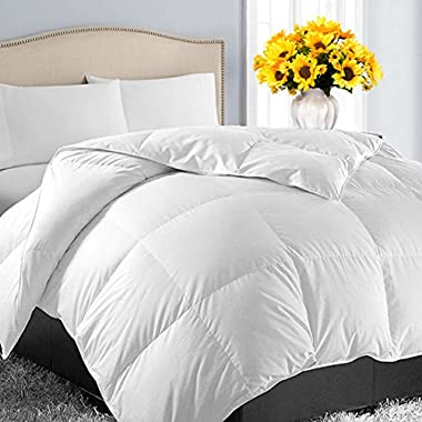 Queen/Full Soft Quilted Down Alternative✅Summer Cooling Comforter Luxury Hotel Collection Reversible Duvet Insert✅Fill with Corner Ties,Warm Fluffy Hypoallergenic for All Season,White,88 by 88 Inches