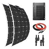 Giosolar Panel Solar 200 W Flexible Panel Solar Kit Cargador de Batería Monocristalina MPPT 40A Controlador Solar para Barco Caravana Off-Grid