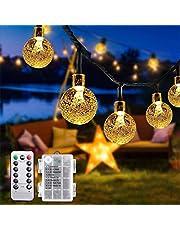 Fochea Lichtsnoer voor buiten, 7 m, 50 leds, met kristallen bollen, 8 modi, IP65 waterdicht, werkt op batterijen, lichtketting, buitenverlichting, tuin, lichtketting voor feestjes