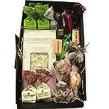 Süßes Geschenkset'Dolce Momento' mit exklusiven italienischen Süßwaren in einer schwarzen Geschenkbox, gefüllt mit Holzwolle (Mandel)