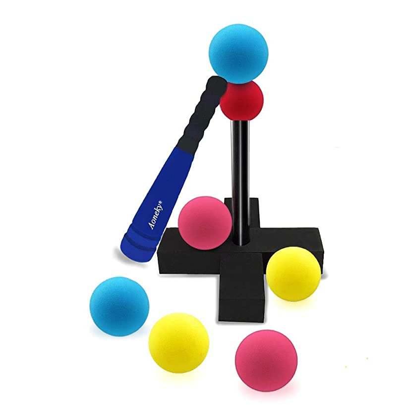 Aoneky Mini Foam Tball Set for Toddlers - Carry Bag Included - Best Baseball T Ball Toys for Kids Age 1 Years Old