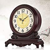 Reloj de mesa de escritorio, relojes de chimenea clásicos Relojes de adorno analógico de madera Relojes de escritorio y estante de cuarzo de pie antiguo clásico sin tictac Regalo (38 * 34 cm)