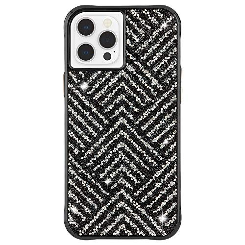 Case-Mate - Brilliance - Case for iPhone 12 and iPhone 12 Pro (5G) - 10 ft Drop Protection - 6.1 Inch - Herringbone - Black