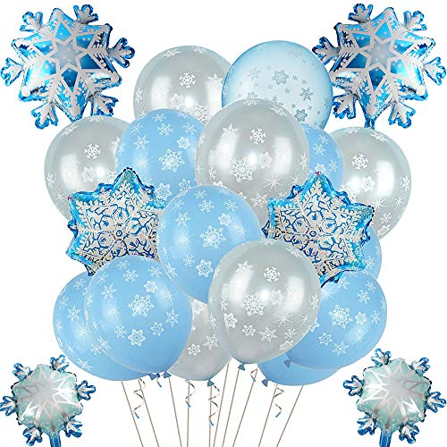 vamei Luftballon Frozen ELSA Party Deko Blau Luftballon Folienballon mit Schneeflocke Hanging Dekorationen Party Deko Latex Luftballons ELSA Party Hochzeit Geburtstagsparty