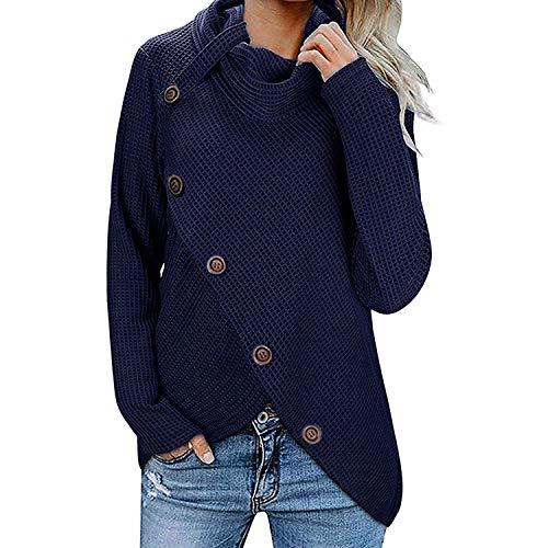 Dames Schildpad Cowl Neck Sweater Casual, Herfst Winter Lange Mouw Asymmetrische Coltrui Warm Outwear Tops Blouse